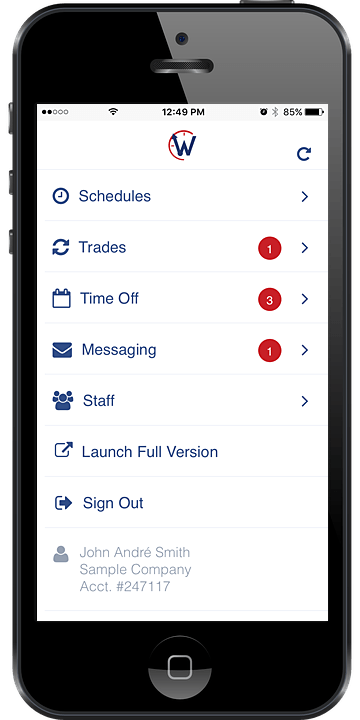 w2w online employee scheduling mobile app
